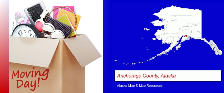 moving day; Anchorage County, Alaska highlighted in red on a map