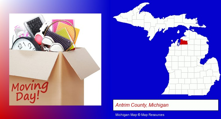 moving day; Antrim County, Michigan highlighted in red on a map