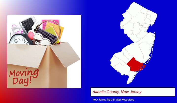 moving day; Atlantic County, New Jersey highlighted in red on a map