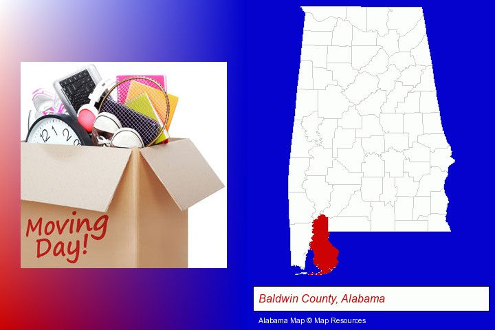 moving day; Baldwin County, Alabama highlighted in red on a map