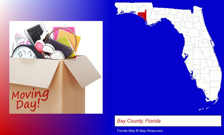 moving day; Bay County, Florida highlighted in red on a map