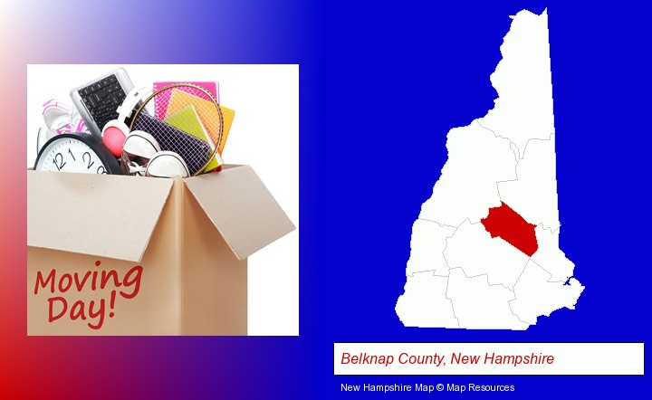 moving day; Belknap County, New Hampshire highlighted in red on a map