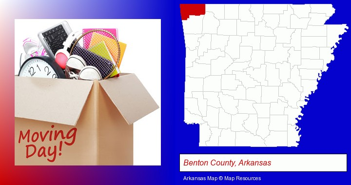 moving day; Benton County, Arkansas highlighted in red on a map