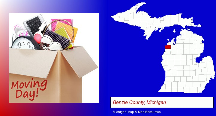 moving day; Benzie County, Michigan highlighted in red on a map