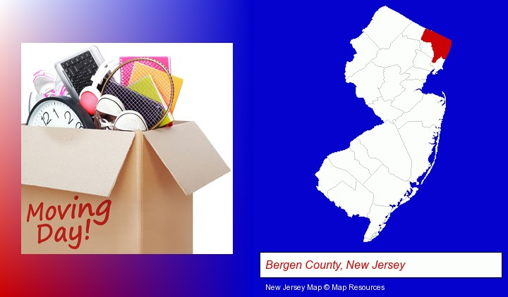 moving day; Bergen County, New Jersey highlighted in red on a map