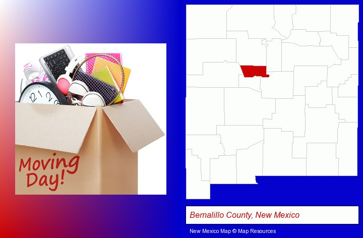 moving day; Bernalillo County, New Mexico highlighted in red on a map