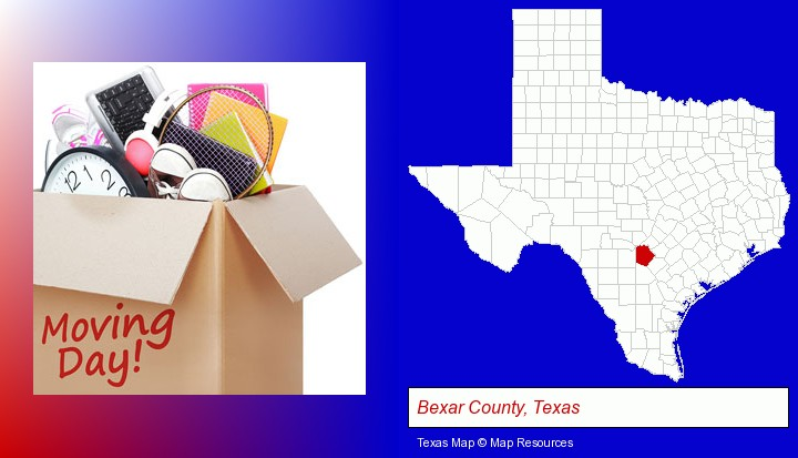 moving day; Bexar County, Texas highlighted in red on a map