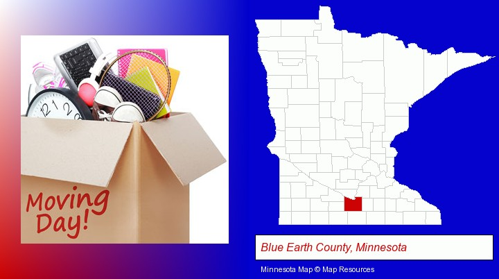 moving day; Blue Earth County, Minnesota highlighted in red on a map