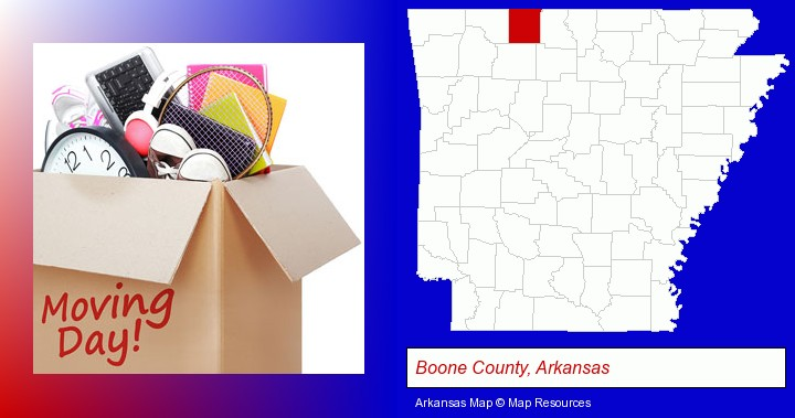 moving day; Boone County, Arkansas highlighted in red on a map