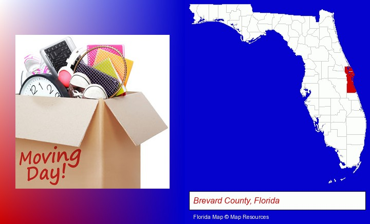 moving day; Brevard County, Florida highlighted in red on a map