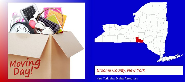 moving day; Broome County, New York highlighted in red on a map