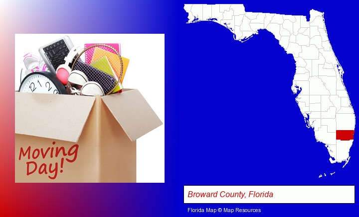 moving day; Broward County, Florida highlighted in red on a map