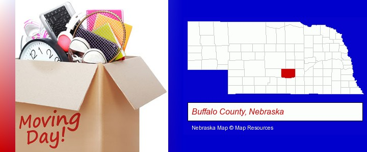 moving day; Buffalo County, Nebraska highlighted in red on a map
