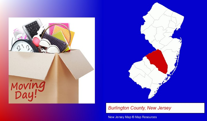 moving day; Burlington County, New Jersey highlighted in red on a map