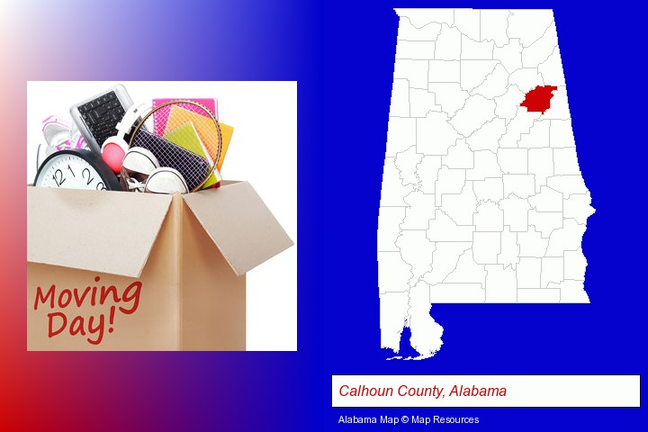 moving day; Calhoun County, Alabama highlighted in red on a map
