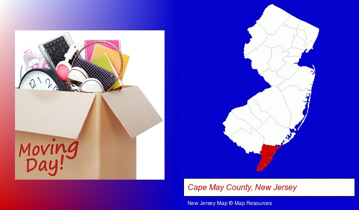 moving day; Cape May County, New Jersey highlighted in red on a map