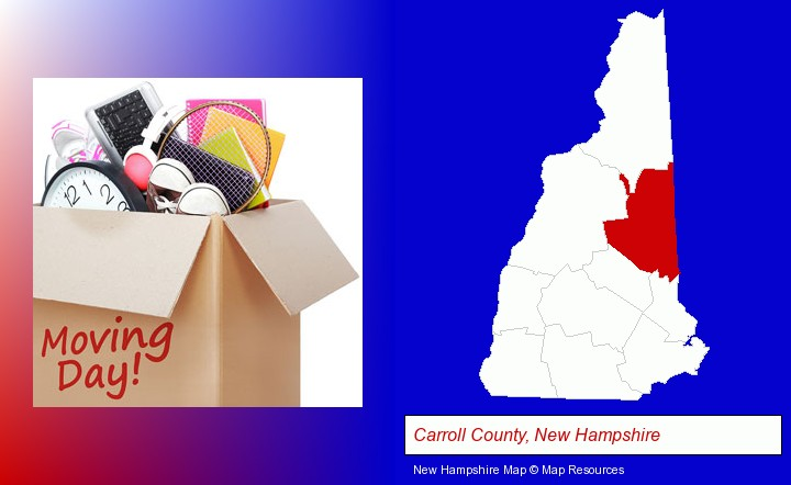 moving day; Carroll County, New Hampshire highlighted in red on a map