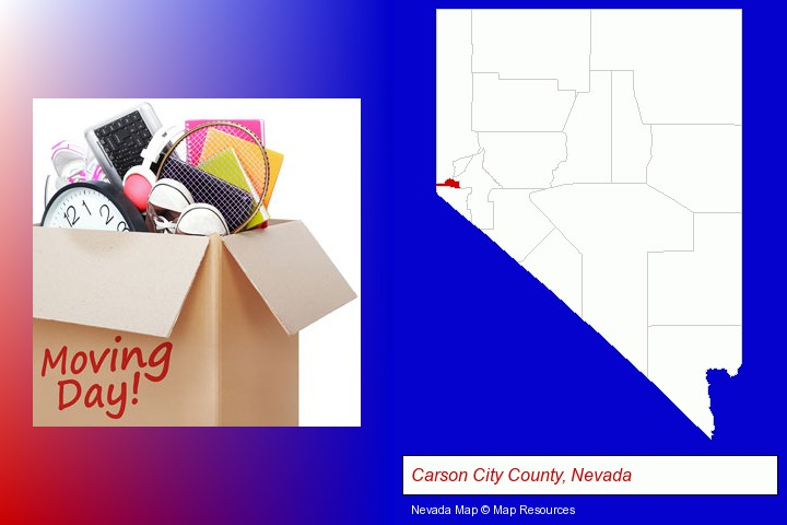 moving day; Carson City County, Nevada highlighted in red on a map