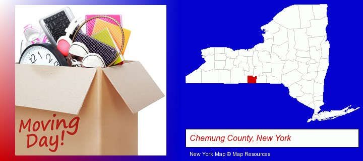 moving day; Chemung County, New York highlighted in red on a map