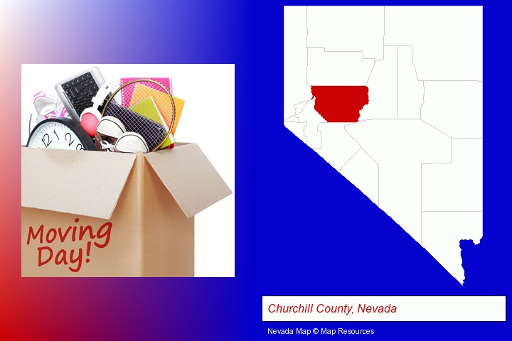 moving day; Churchill County, Nevada highlighted in red on a map
