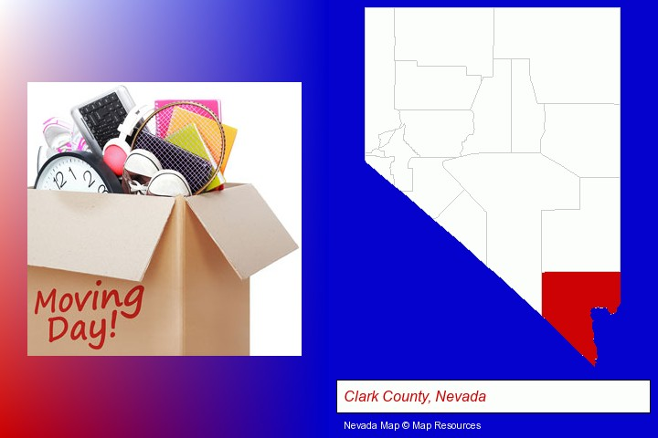 moving day; Clark County, Nevada highlighted in red on a map