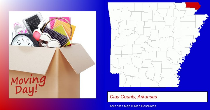 moving day; Clay County, Arkansas highlighted in red on a map