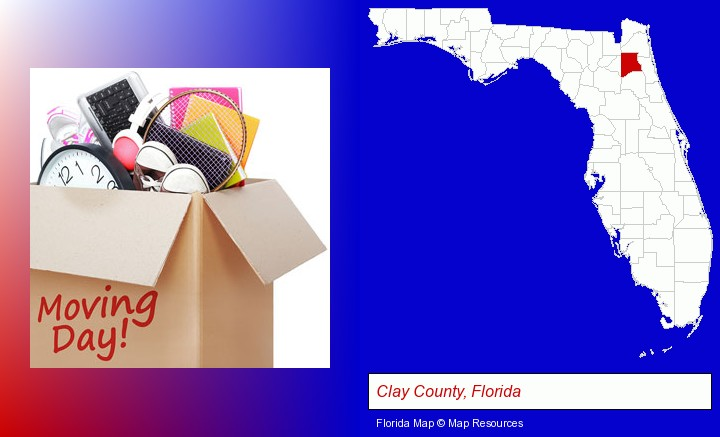 moving day; Clay County, Florida highlighted in red on a map