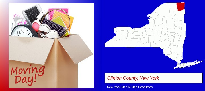 moving day; Clinton County, New York highlighted in red on a map