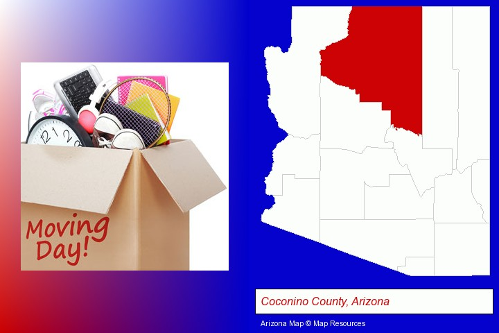 moving day; Coconino County, Arizona highlighted in red on a map