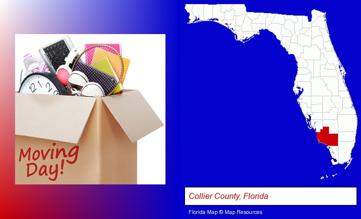 moving day; Collier County, Florida highlighted in red on a map