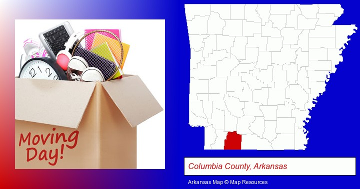 moving day; Columbia County, Arkansas highlighted in red on a map