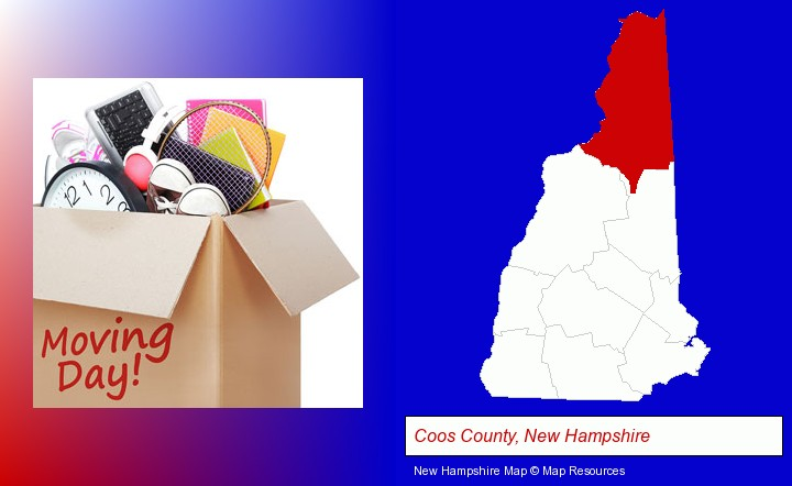 moving day; Coos County, New Hampshire highlighted in red on a map