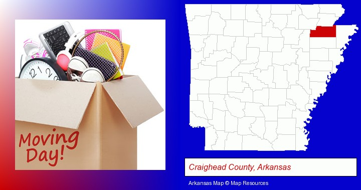 moving day; Craighead County, Arkansas highlighted in red on a map