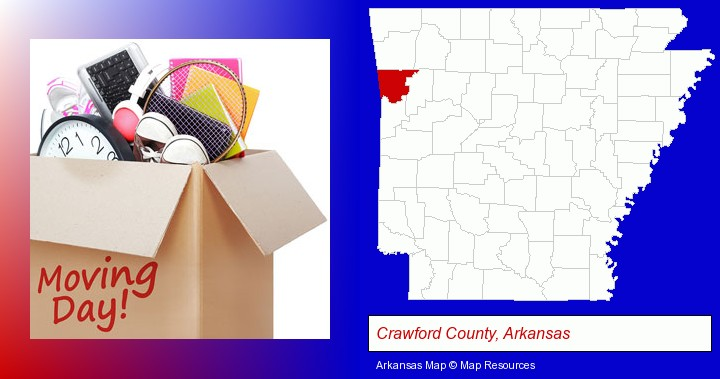 moving day; Crawford County, Arkansas highlighted in red on a map