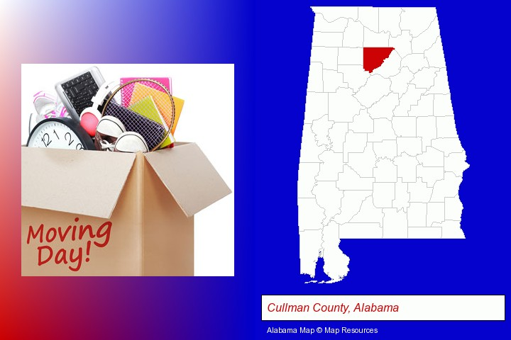 moving day; Cullman County, Alabama highlighted in red on a map