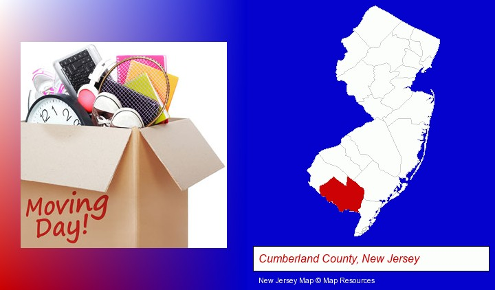 moving day; Cumberland County, New Jersey highlighted in red on a map
