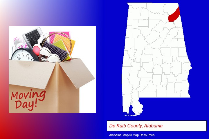 moving day; De Kalb County, Alabama highlighted in red on a map