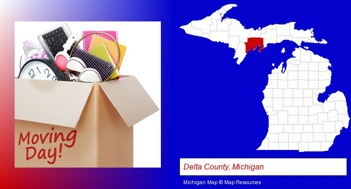 moving day; Delta County, Michigan highlighted in red on a map