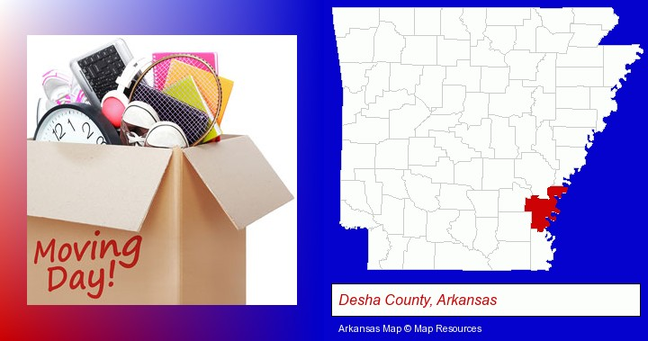 moving day; Desha County, Arkansas highlighted in red on a map
