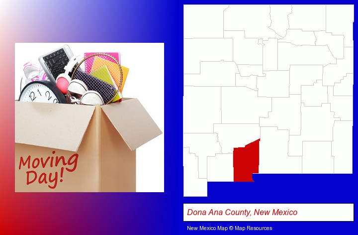 moving day; Dona Ana County, New Mexico highlighted in red on a map