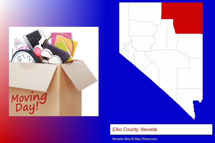 moving day; Elko County, Nevada highlighted in red on a map