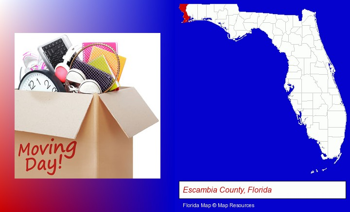 moving day; Escambia County, Florida highlighted in red on a map
