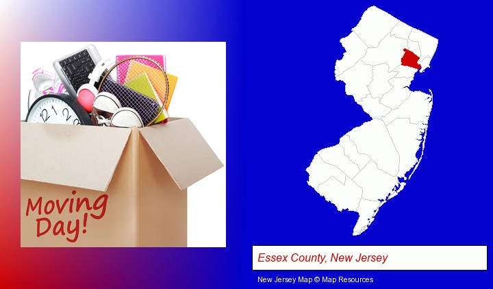 moving day; Essex County, New Jersey highlighted in red on a map
