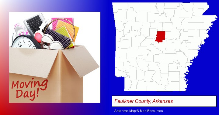 moving day; Faulkner County, Arkansas highlighted in red on a map