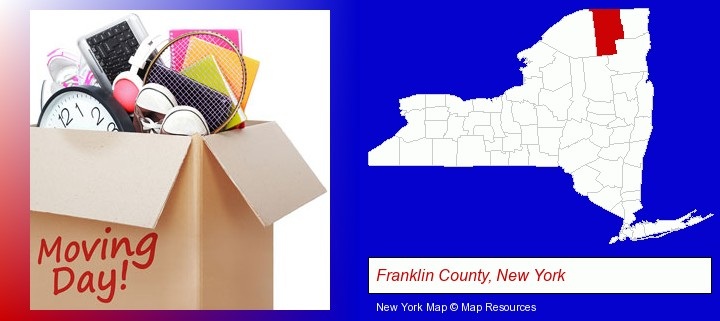 moving day; Franklin County, New York highlighted in red on a map