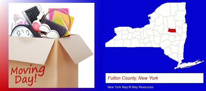 moving day; Fulton County, New York highlighted in red on a map