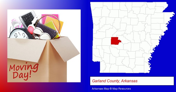 moving day; Garland County, Arkansas highlighted in red on a map