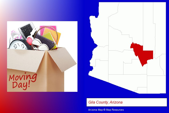 moving day; Gila County, Arizona highlighted in red on a map