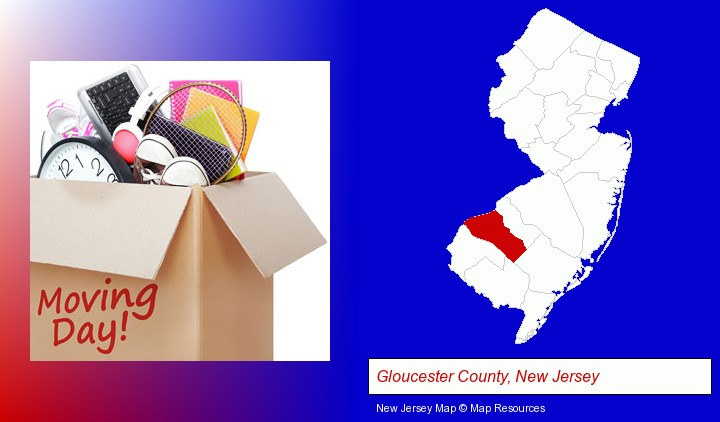 moving day; Gloucester County, New Jersey highlighted in red on a map