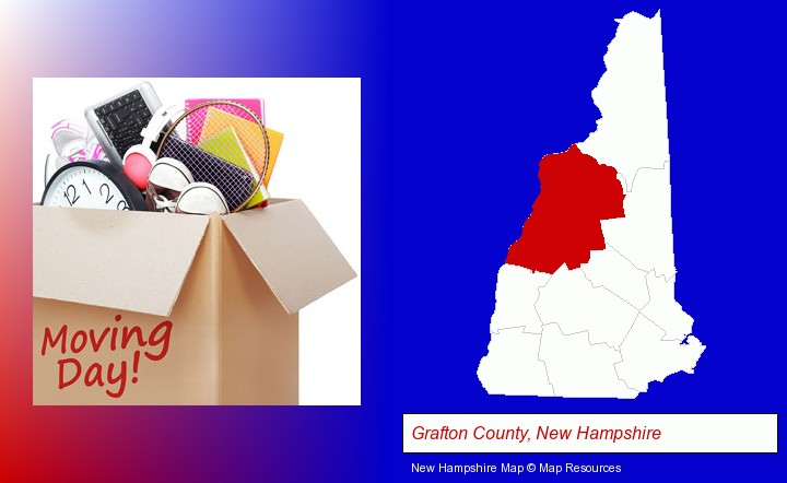 moving day; Grafton County, New Hampshire highlighted in red on a map